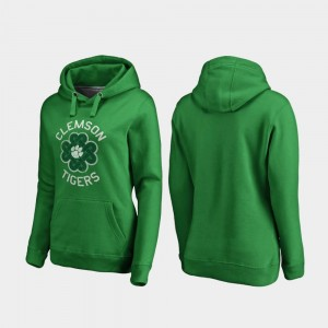 St. Patrick's Day Clemson College Hoodie Womens Kelly Green Luck Tradition