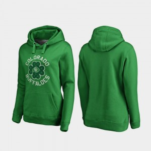 Kelly Green College Hoodie For Women's St. Patrick's Day Luck Tradition Colorado Buffaloes
