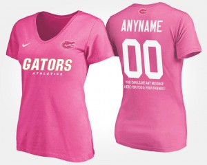 With Message College Custom T-Shirt Womens #00 Pink Florida