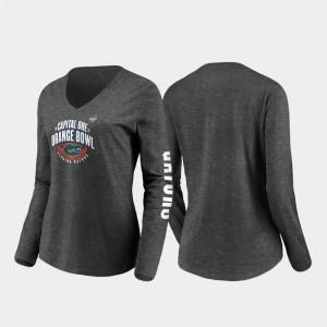 Florida Women's Stiff Arm Long Sleeve V-Neck College T-Shirt 2019 Orange Bowl Bound Heather Charcoal