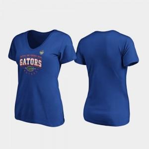 Gator Womens Royal College T-Shirt 2019 Orange Bowl Bound Tackle V-Neck
