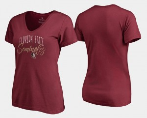 V-Neck Garnet College T-Shirt Ladies Graceful Seminole