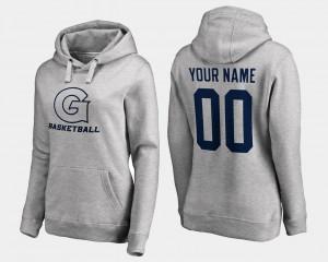 College Customized Hoodie Georgetown Hoyas Gray Basketball - Women #00