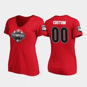 2019 SEC East Football Division Champions College Custom T-Shirts Red V-Neck Womens #00 Georgia Bulldogs