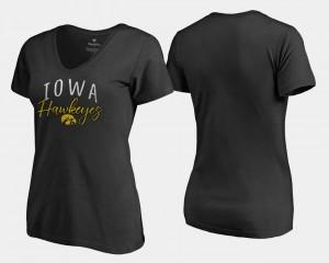 College T-Shirt Graceful V-Neck Black Womens Hawkeyes