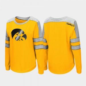 Trey Dolman Gold College T-Shirt University of Iowa For Women Long Sleeve