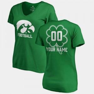 #00 Kelly Green Iowa Hawkeye Women St. Patrick's Day V-Neck Dubliner Fanatics College Customized T-Shirt