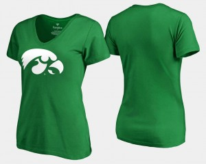White Logo Kelly Green St. Patrick's Day For Women College T-Shirt Hawkeyes