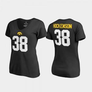 V-Neck Name & Number Legends Women T.J. Hockenson College T-Shirt Black Iowa #38
