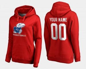 Basketball - Jayhawks College Custom Hoodies Red #00 Womens