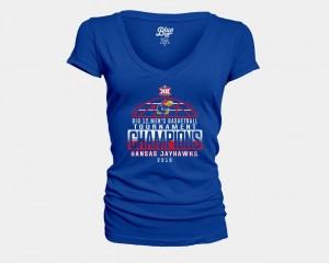 Royal V-Neck 2018 Big 12 Champions Locker Room Basketball Conference Tournament For Women's College T-Shirt Kansas Jayhawks