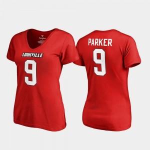 Ladies Legends Cardinals DeVante Parker College T-Shirt #9 V-Neck Red