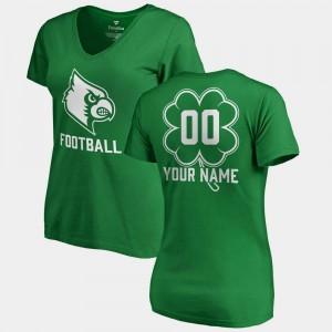 For Women's Cardinals #00 College Custom T-Shirts V-Neck Dubliner Fanatics St. Patrick's Day Kelly Green