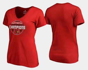 College T-Shirt Basketball Conference Tournament For Women V-Neck 2018 ACC Champions University Of Louisville Red