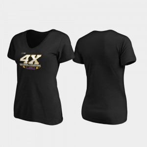 LSU Tigers Black 4-Time Football National Champions Womens Reverse V-Neck College T-Shirt