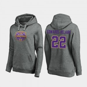 Clyde Edwards-Helaire College Hoodie 2019 National Champions Ladies LSU Heather Gray #22 Football Playoff Visor