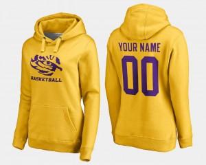LSU Women #00 Gold Basketball - College Custom Hoodie