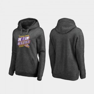 College Hoodie 2019 National Champions LSU For Women Heather Gray Football Playoff Facemask