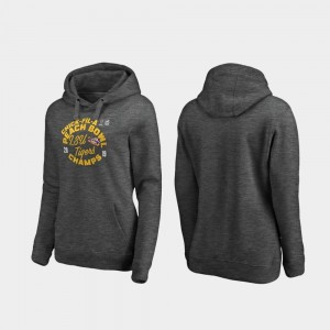 LSU Heather Gray 2019 Peach Bowl Champions Football Playoff Curl For Women College Hoodie
