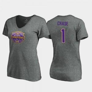 #1 Women V-Neck Visor 2019 National Champions Louisiana State Tigers Heather Gray Ja'Marr Chase College T-Shirt