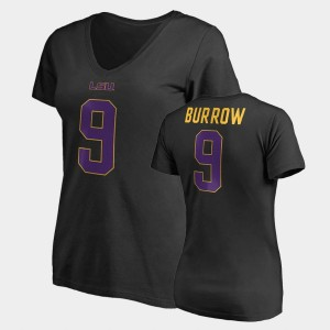 #9 Joe Burrow College T-Shirt Name & Number V-Neck Womens Black Louisiana State Tigers Legends