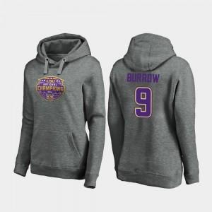 2019 National Champions Joe Burrow College Hoodie Football Playoff Visor Women Heather Gray #9 LSU Tigers