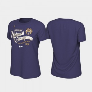 Purple 2019 National Champions College T-Shirt LSU Tigers Women's Celebration Football Playoff