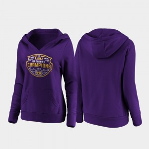 Womens 2019 National Champions Purple LSU College Hoodie Football Playoff Official Logo