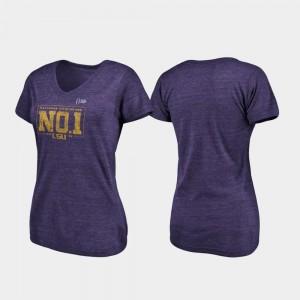 LSU Pocket Tri-Blend V-Neck Purple Women's 2019 National Champions College T-Shirt
