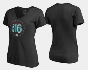 Black Ladies College T-Shirt March Madness 2018 Basketball Backboard V-Neck Sweet 16 Bound