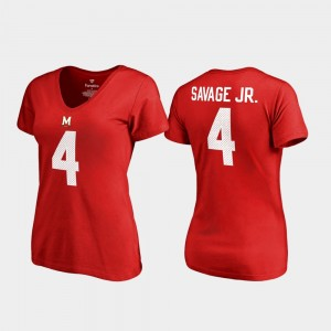 V-Neck Name & Number University of Maryland Legends Red Women's #4 Darnell Savage Jr. College T-Shirt
