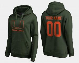 Miami For Women #00 Basketball - College Custom Hoodie Green
