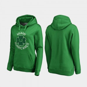 Miami Hurricanes Women's St. Patrick's Day College Hoodie Kelly Green Luck Tradition