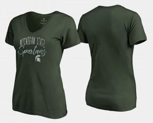 V-Neck Women's Graceful College T-Shirt Green Spartans