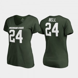 Green Le'Veon Bell College T-Shirt #24 Legends V-Neck Michigan State Women