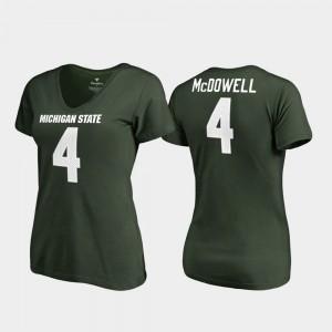 Legends V-Neck Women's Malik McDowell College T-Shirt Green MSU #4