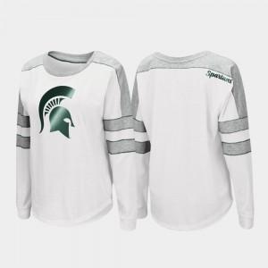 Trey Dolman Women College T-Shirt MSU Long Sleeve White