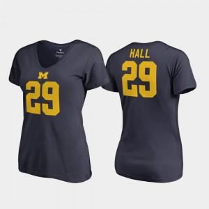 Navy V-Neck Michigan Ladies Leon Hall College T-Shirt #29 Legends