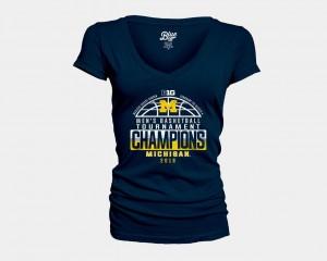 Ladies V-Neck 2018 Big Ten Champions Locker Room Basketball Conference Tournament University of Michigan Navy College T-Shirt