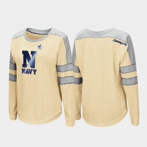 College T-Shirt Gold Long Sleeve Trey Dolman For Women's Navy Midshipmen