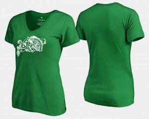 College T-Shirt Kelly Green Navy St. Patrick's Day Women White Logo