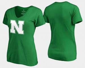 Nebraska Women's Kelly Green College T-Shirt White Logo St. Patrick's Day