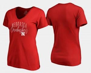 V-Neck Cornhuskers Graceful Scarlet College T-Shirt Women's