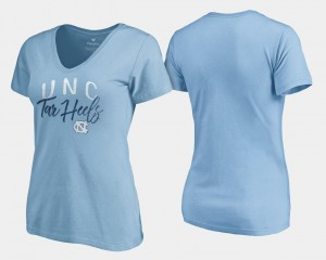 Graceful For Women College T-Shirt Tar Heels V-Neck Carolina Blue
