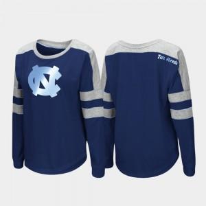 Womens Long Sleeve North Carolina Navy College T-Shirt Trey Dolman
