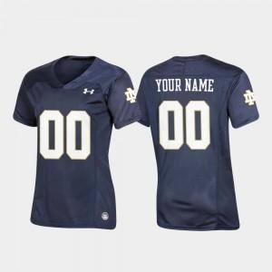 College Custom Jersey Football University of Notre Dame Navy Replica #00 For Women's
