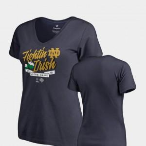 2018 Cotton Bowl Bound College T-Shirt UND Women Dime V-Neck Football Playoff Navy