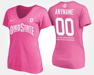 With Message OSU #00 Pink College Custom T-Shirts Women's