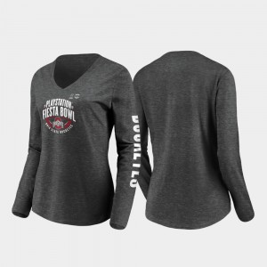 2019 Fiesta Bowl Bound For Women Stiff Arm Long Sleeve V-Neck Heather Charcoal Ohio State College T-Shirt