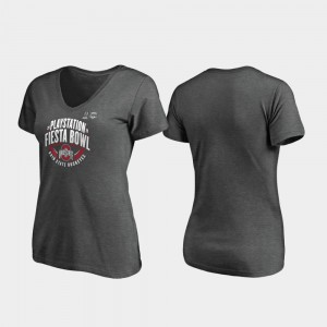 Buckeye Women Heather Gray College T-Shirt 2019 Fiesta Bowl Bound Scrimmage V-Neck
